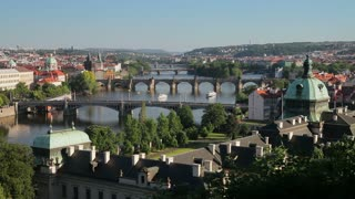 View of the River Vltava and bridges, Prague, Czech Republic, Europe