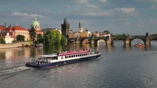 View of the River Vltava and Charles Bridge, Prague, Czech Republic, Europe