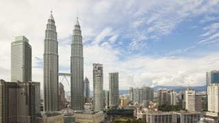 View of the sky bridge between the Petronas Twin Towers, Kuala Lumpur, Malaysia, Asia, Time lapse