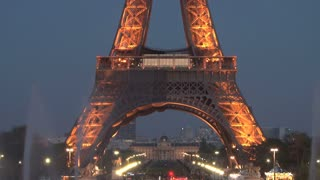 View of Underneath the Eiffel Tower at Night Tilt