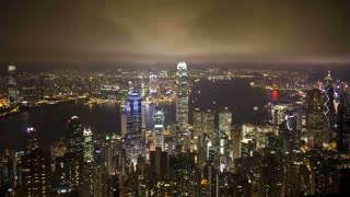 View of Victoria Harbour and city Skyline, Hong Kong from Victoria Peak, China, T/Lapse