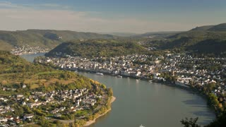 View over Boppard and the  River Rhine, Rhineland-Palatinate, Germany