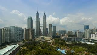 View over Kuala Lumpur City Centre (KLCC) & Petronas Towers, Kuala Lumpur, Malaysia, Time lapse