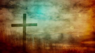 Vintage Cross In The Field. Easter Motion Background