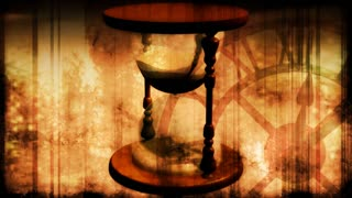 Vintage Hourglass with Clock in Background