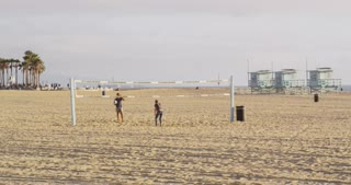 Volleyball Players on California Beach