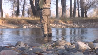 Waist Down Shot Of Fly Fisherman Standing In Water