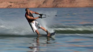Wake Boarder Jumps Waves And Crashes
