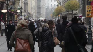 Walking In Crowded European Street