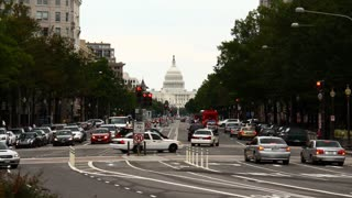 Washington D.C. Capitol Time-Lapse. Looking down Pennsylvania Avenue towards the Capitol building in Washington D.C. Timelapse.