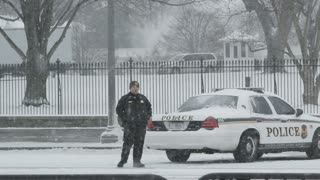 Washington DC Policeman in Snow