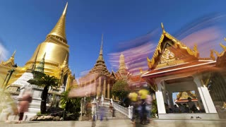 Wat Phra Kaew, the temple of the Emerald Buddha, and the Grand Palace, in Bangkok, Thailand, S.E. Asia - Low angle T/lapse