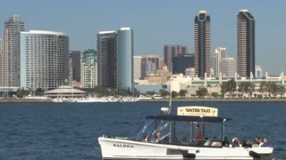 Water Taxi San Diego Harbor Skyline across Waterfront