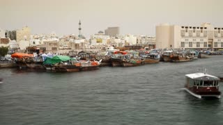Waterfront in Dubai with Commercial and Ferry river traffic, Middle East, UAE, T/Lapse
