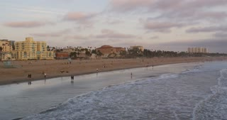 Waves Coming in Along Socal Beach Early Evening