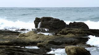 Waves Crashing Agains Coastal Rocks 2