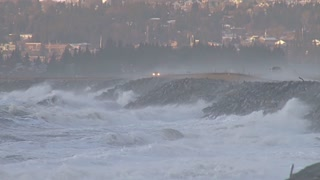 Waves Crashing into Homer Spit Road During Storm in Alaska