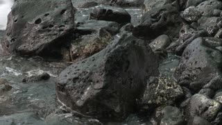 Waves Crashing Over Lava Rocks