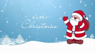 Waving Santa Merry Christmas Background