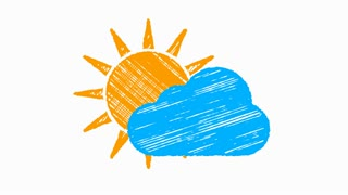 weather icon cloudy, sun and blue cloud painted with chalk 4K