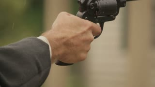 Western Pistol Firing, Close Up, Dramatic