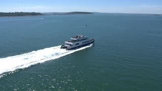Whale Watching Boat Aerial Shot Zoom In