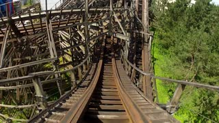 Whipping Through Sections on Wooden Coaster