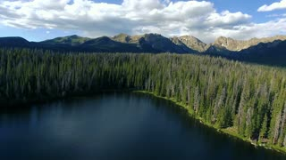 Wide aerial shot of Lost Lake in Vail Colorado Rocky Mountains