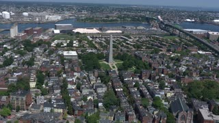 Wide Aerial Survey Of Bunker Hill Neighborhood, Boston, Massachusetts