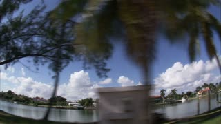 Wide Angle Lens View of Boat in Marina in Miami