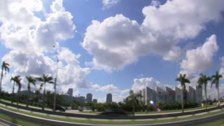 Wide Angle Lens View of Miami Freeway with Downtown