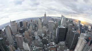 Wide angle view of the Manhattan Skyline from the Empire State Building Observation Deck, New York, USA, United States of America, Time-lapse