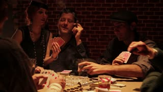 Wide Shot Around 1920s Underground Poker Game
