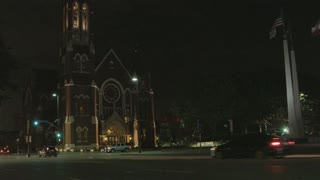 Wide Shot of Church in Downtown Dallas at Night