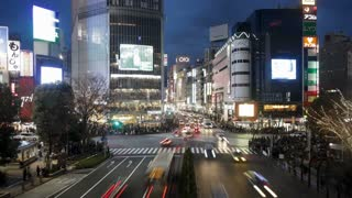 Wide shot of Pedestrians and traffic across Shibuya Crossing, Shibuya, Tokyo, Honshu, Japan, Asia, T/Lapse
