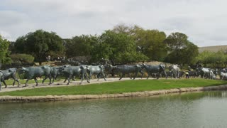 Wide Shot of Pioneer Plaza in Dallas Texas