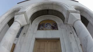 Wide Tilt Of Cathedral Entrance Doors