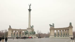 Wide View of Heroes Square in Budapest