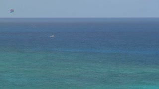 Wide View of Parasailers in Ocean