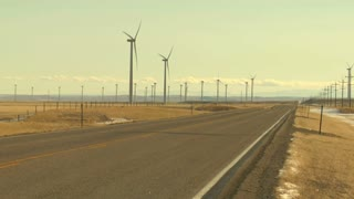 Wind Turbines Along Highway