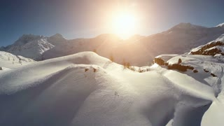 winter landscape. snow covered mountains. aerial view. fly over