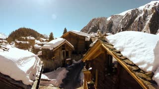 winter village. tourism. snow covered houses. snow winter landscape. aerial view