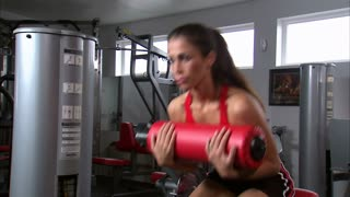 Woman Doing Ab Workout in Gym Weight Room 3
