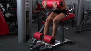 Woman Doing Ab Workout in Gym Weight Room 4