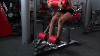 Woman Doing Ab Workout in Gym Weight Room 5