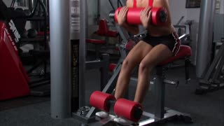 Woman Doing Ab Workout in Gym Weight Room 6