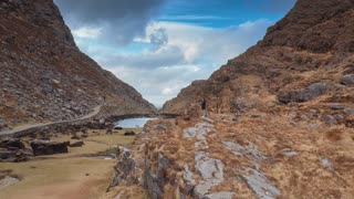 Woman Explorer Hiking Gap Of Dunloe Ireland