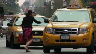 Woman Hailing Taxi