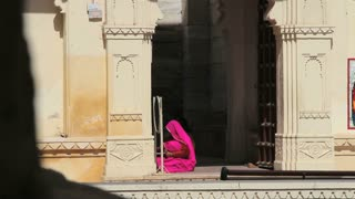 Woman in Pink at Udaipur Palace