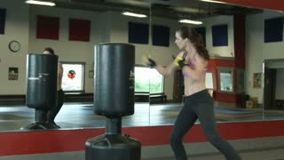 Woman Punching and Kicking a Punching Bag